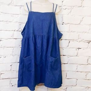 Vintage 90s Jean Chambray Skater Dress Size 3X